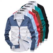 Modern Contrast Kleur Lange Mouwen Heren Gebreide Vest