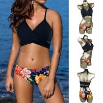 Sexy Gekruist Bikini Beha + Slip Lage Taille Bikini Set