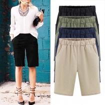 Modern Effen Kleur Elastische Taille Kniehoge Shorts