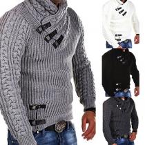 Modern Effen Kleur Lange Mouw Heren Sweater