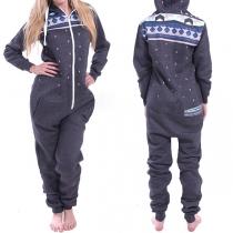 Modern Lange Mouwen Capuchon Eendelige Pyjama