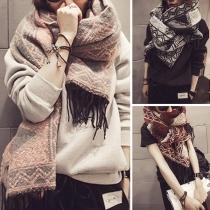 Retro-stijl Geometrisch Kwastjes Zoom Sjaal