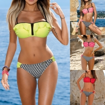 Sexy Contrasterende Kleuren Patroon Ruches Bikiniset