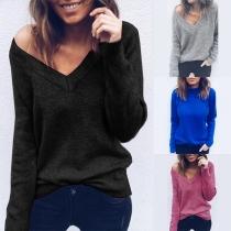 Modern Effen Kleur Lange Mouwen V-hals Sweater