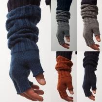 Modern Effen Kleur Open Vingertoppen Gebreide Handschoenen