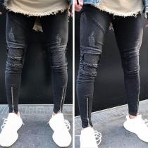 Moderne Geripte Jeans voor Heren in Effen Kleur met Ritssluitingen