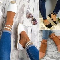 Moderne Schoenen met Platte Hakken Ronde Neuzen en Nietjes