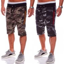 Knielange Sportbroek voor Heren met Camouflagepatroon