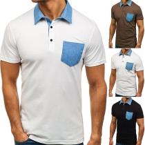 Modern T-shirt voor Heren met Contrasterende Kleuren Korte Mouwen een Polokraag