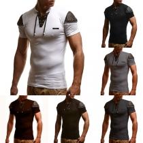 Modern T-shirt voor Heren met Contrasterende Kleuren Korte Mouwen en Opstaande Kraag