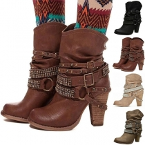 Modern Laarzen met Dikke Hoge Hakken Gespen en Strass