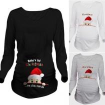 Leuk Zwangerschapsshirt met Kerstmotief Lange Mouwen en Ronde Hals