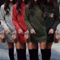 Modern Sweaterjurk met Effen Kleur Lange Mouwen Ronde Hals en Slanke Pasvorm