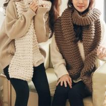 Moderne Gebreide Sjaal met Effen Kleur