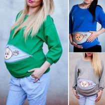 Zwangerschapsshirt met Schattig Cartoonmotief Lange Mouwen en Ronde Hals