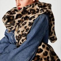 Moderne Eindeloze Sjaal met Luipaardpatroon