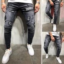 Moderne Geribbeld Jeans voor Heren met Badges Patches en Slanke Pasvorm