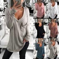 Modern Shirt met Effen Kleur Lange Mouwen Losse Pasvorm en V-hals(Korter dan de foto)