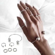 Eenvoudig Set Accessoires bestaand uit een Armband + Ringen 6 Stuks/Set