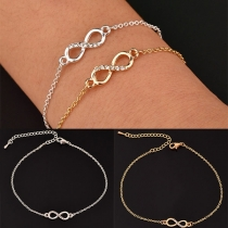 Modern Armband met Oneindige Symbolen hanger en Ingelegd Strass