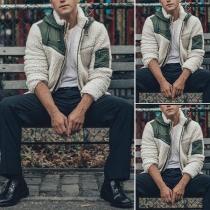 Moderne Pluchen Jas voor Heren met Contrasterende Kleuren Lange Mouwen en Capuchon