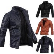 Moderne jas voor Heren met Effen Kleur Lange Mouwen en Ritssluiting