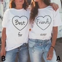 Bedrukte T-shirts met Contrasterende Kleuren Korte Mouwen en Ronde Hals