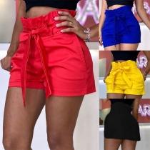 Moderne Shorts met Effen Kleur Ruches en Hoge Taille