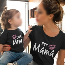 Modern Bedrukt T-shirt met Korte Mouwen en Ronde Hals