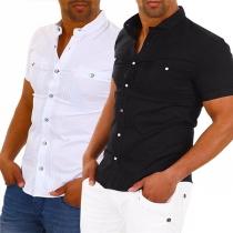 Modern Hemd voor Heren met Effen Kleur Korte Mouwen en Opstaande Kraag