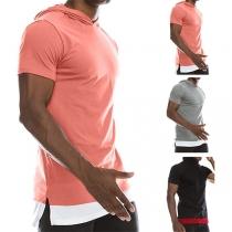 T-shirt voor Heren met Contrasterende Kleuren  Korte Mouwen en Capuchon