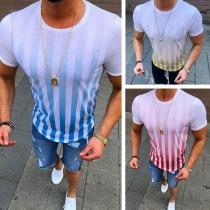 Modern Gestreept T-shirt voor Heren met Korte Mouwen en Ronde Hals