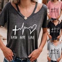 Modern Bedrukt T-shirt met Korte Mouwen en V-hals