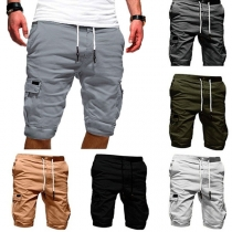 Moderne Knielange Shorts voor Heren met Effen Kleur en Zijzakken