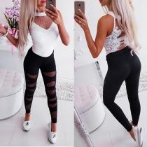Sexy Bijgesneden Rekbare Legging met Hoge Taille