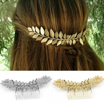 Moderne Gouden/Zilveren Haarspeld in Bladvorm