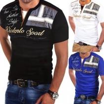 Modern Bedrukt T-shirt voor Heren met V-hals en Korte Mouwen