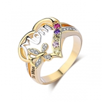 Moderne Hartvormige Ring met Ingelegd Strass