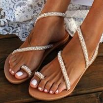 Modern Sandalen met Platte Hakken en Ingelegd Strass
