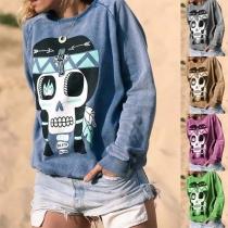 Modern Sweatshirt met Doodshoofdmotief Lange Mouwen en Ronde Hals
