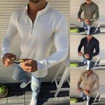 Modern Sweatshirt voor Heren met Effen Kleur Lange Mouwen en Opstaande Kraag