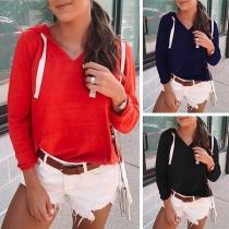Moderne Overhemd met Effen Kleur V-hals en Lange Mouwen