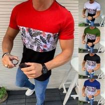 Modern T-shirt voor Heren met Slanke Pasvormen Korte Mouwen