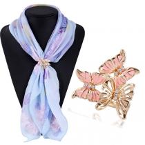 Moderne Vlindervormige Gesp voor je Zijden Sjaal met Ingelegd Strass
