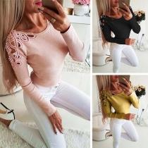 Sexy Bijgesneden Sweatshirt met Ronde Hals en Lange Mouwen(Het valt klein)
