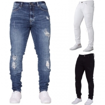 Moderne Gescheurde Spijkerbroek met Middelhoge Taille