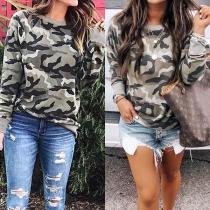 Moderne Sweater met Camouflagepatroon Lange Mouwen en Ronde Hals