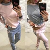 Modern Tweedelig Set met Contrasterende Kleuren bestaand uit een Sweatshirt met Lange Mouwen + Broek