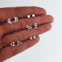 Eenvoudig Set Oorstekkers in de vorm van Halve Maan Ster en Bladeren 6 paar / Set