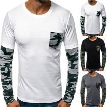 Modern Sweatshirt voor Heren met  Camouflagepatroon op de Lange Mouwen en Ronde Hals
